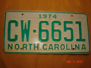 Picture of 1974 North Carolina Car #CW-6651