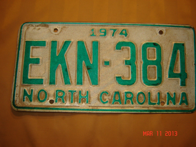 Picture of 1974 North Carolina Car #EKN-384