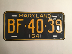 Picture of 1954 Maryland #BF-40-39