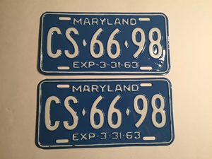 Picture of 1963 Maryland Pair #CS-66-98