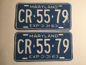 Picture of 1963 Maryland Pair #CR-55-79