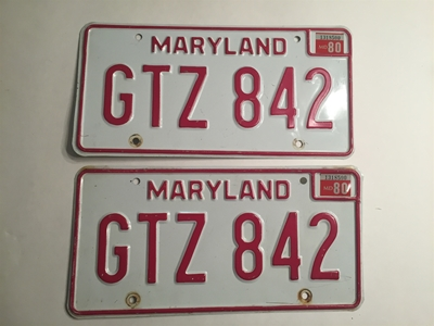 Picture of 1980 Maryland Pair #GT2-842