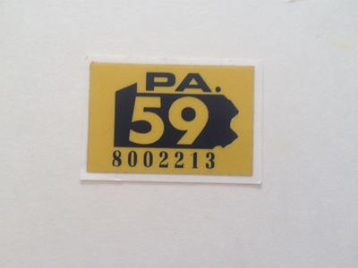 Picture of 1959 Pennsylvania Registration Sticker