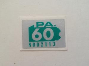 Picture of 1960 Pennsylvania Registration Sticker