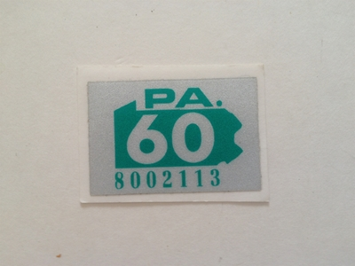 Picture of 1960 Pennsylvania Registration Sticker
