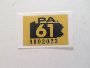 Picture of 1961 Pennsylvania Registration Sticker