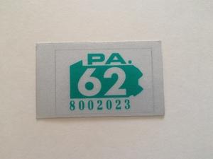 Picture of 1962 Pennsylvania Registration Sticker