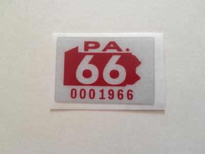 Picture of 1966 Pennsylvania Registration Sticker