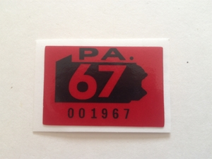 Picture of 1967 Pennsylvania Registration Sticker