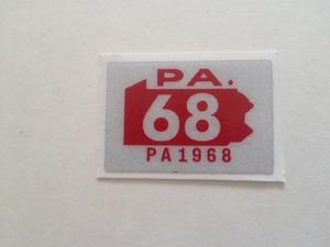 Picture of 1968 Pennsylvania Registration Sticker