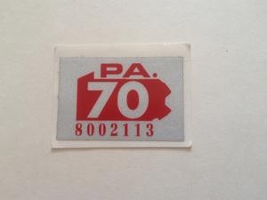 Picture of 1970 Pennsylvania Registration Sticker