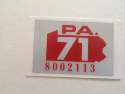 Picture of 1971 Pennsylvania Registration Stickers