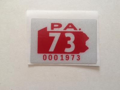 Picture of 1973 Pennsylvania Registration Sticker