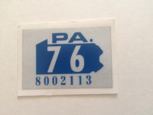 Picture of 1976 Pennsylvania Registration Sticker