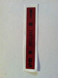 Picture of 1965 New York Registration Sticker