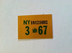Picture of 1967 New York Registration Sticker
