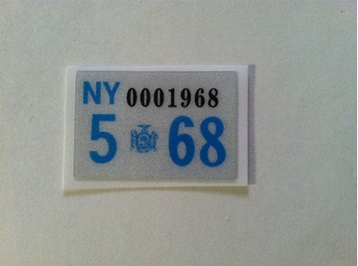 Picture of 1968 New York Registration Sticker