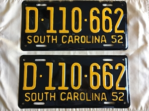Picture of 1952 South Carolina Pair #D110-662