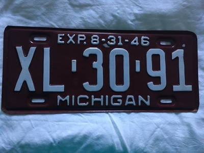 Picture of 1946 Michigan 1/2 year plate #XL-30-91