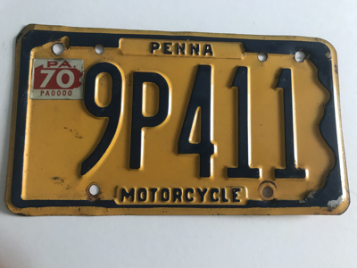 Picture of 1970 Pennsylvania Motorcycle Plate