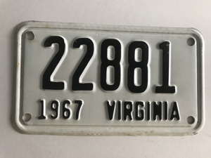 Picture of 1967 Virginia Motorcycle Plate