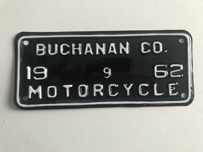 Picture of 1962 Virginia Buchannon County Motorcycle Plate